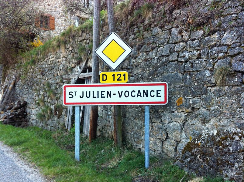 City limit sign of Saint-Julien-Vocance.