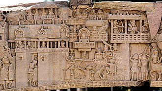 History of India - City of Kushinagar in the 5th century BCE according to a 1st-century BCE frieze in Sanchi Stupa 1 Southern Gate.