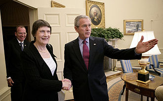 Helen Clark - Helen Clark meets US President George W. Bush at the White House, 22 March 2007