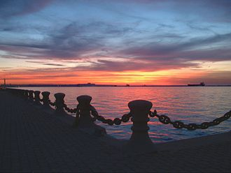 Lake Erie - Sunset from Cleveland pier