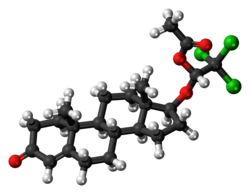 Cloxotestosterone acetate molecule ball.png