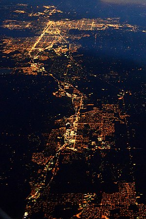 Spokane Valley, Washington - Night aerial view of Spokane Valley (foreground) and Spokane (background) in December 2014