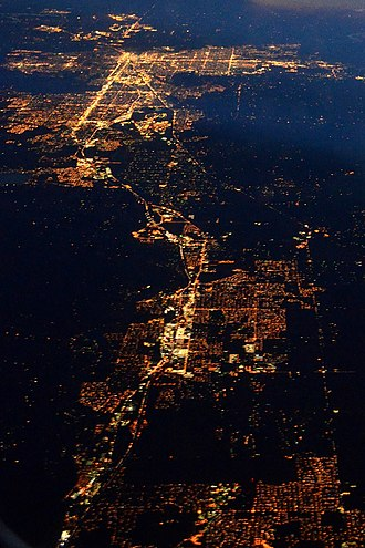 Spokane–Coeur d'Alene combined statistical area - Night aerial view showing most of the urban area within the CSA