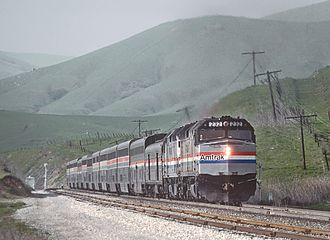 Coast Starlight - The Coast Starlight in the Cuesta Hills above San Luis Obispo in 1985