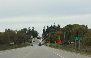 Cobb, Wisconsin - Image: Cobb Wisconsin Sign Panorama US18
