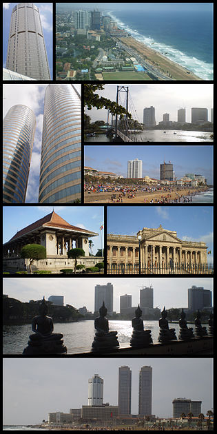 From top left: Colombo skyline, Twin towers of the Colombo World Trade Center with the Bank of Ceylon Headquarters, BMICH, Independence Square, Beira lake bridge, Colombo Town hall and The Colombo Fort