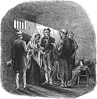 An etching of a man and a woman being married in a jail cell. Sunlight streams in through a small window.