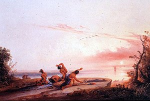 The West as America Art Exhibition - Coming of the White Man by Joshua Shaw, (1850)