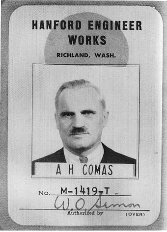 Arthur Compton's ID badge from the Hanford Site. For security reasons, he used a fake name. Compton ID badge.JPG