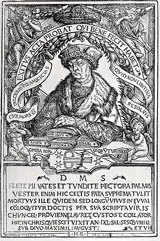 Conrad Celtes - Epitaph of Conrad Celtes, woodcut by Hans Burgkmair, 1507