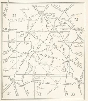 Cotswolds - Map of Cotswolds roads from 1933