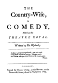 "The first edition The Country Wife"" (1675)"