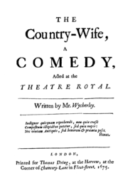 Black and white image of the front cover of the first edition of The Country Wife