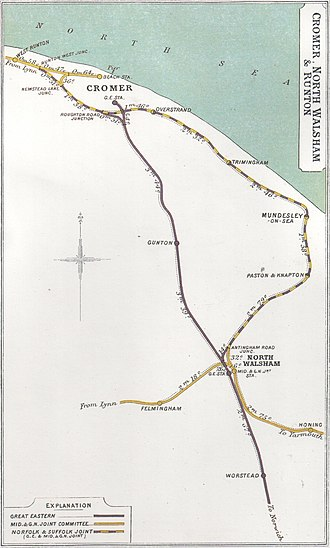 Norfolk and Suffolk Joint Railway - A 1907 Railway Clearing House map showing the North Walsham to Cromer section of the Norfolk and Suffolk Joint Railway (in dotted blue/yellow) and connecting lines