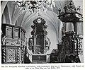 Cumehnen, evangelische Pfarrkirche, Taufkammer, Kanzel und Altar von Joh. Pfeffer, 1676.jpg