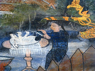 Cunda Kammāraputta - Cunda preparing pork, Wat Kasatrathiraj, Ayutthaya