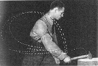 Aleksei Gastev - A cyclogram of сutting metal with a chisel and hammer. Aleksei Gastev in the laboratory of the Central Institute of Labour