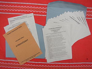 Czech legislative election, 2010 - Set of ballots with instructions (version for electoral district of Central Bohemia) as delivered to voters at least three days prior to elections