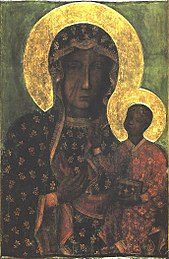 Portrait of a black skinned woman, wearing a black printed cloth around her body and head. She is holding up a baby in her left hand. Both of them have a yellow halo behind them.