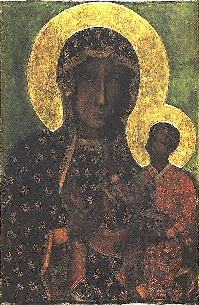 Schwarze Madonna von Jasna Gora, Muttergottes von Tschenstochau, Ikone auf Holz aus dem 15. Jahrhundert