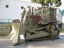 IDF Caterpillar D9 armoured bulldozer. Military experts cited the D9 as a key factor in keeping IDF casualties low.