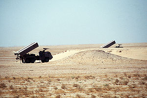 Astros II MLRS - ASTROS-II SS-30 in firing position while being displayed as part of a demonstration of Saudi Arabian equipment during Operation Desert Shield.