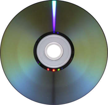 English: Underside of a DVD-R disc, modified t...