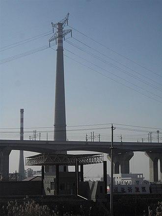 Yangtze River power line crossings - View of pylon in Nanjing.