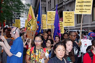 Bagong Alyansang Makabayan - Members of Bayan USA march in New York in solidarity with Occupy Wall Street