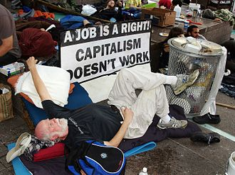 Criticism of capitalism - A man at the protest event Occupy Wall Street