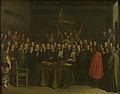 De beëdiging van het vredesverdrag tussen Spanje en de Verenigde Nederlanden in het Raadhuis van Munster, 15 mei 1648 Rijksmuseum SK-A-405.jpeg