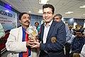 Debabrata Kumar Receiving Memento from Dileep Basumazumder after Delivering Lecture - Stress Fracture in Sports - SPORTSMEDCON 2019 - SSKM Hospital - Kolkata 2019-03-17 3718 3714.JPG