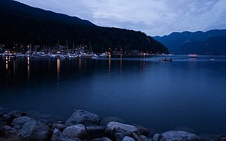 Deep Cove, North Vancouver - Deep Cove at dusk, looking northeast. The marina is to the left.