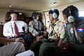 Defense.gov News Photo 100728-D-7203C-001A - Secretary of Defense Robert M. Gates speaks with Boy Scout Vasan Ayyar and his father Col. Balan Ayyar on board a helicopter to attend the Boy.jpg