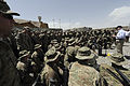 Defense.gov News Photo 110606-D-XH843-023 - Secretary of Defense Robert M. Gates thanks soldiers for their service and bids them farewell at a Forward Operating Base in Afghanistan on June 6.jpg