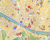 Map of Florence with colored dots near the Ponte Vechhio