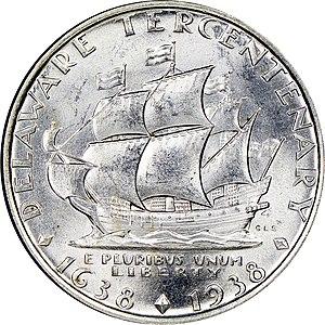 Delaware Tercentenary half dollar - Reverse