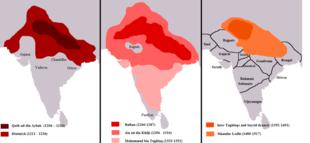 Ausbreitung des Sultanats von Delhi unter den einzelnen Dynastien
