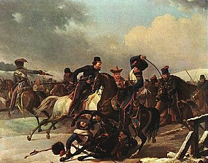 Auguste-Joseph Desarnod - Cossacks pursuing the French at the Battle of Krasnoi. The figure being thrown from his horse in the foreground is Desarnod.