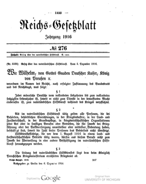 Auxiliary Services Act (1916) - Scan from the Imperial Law Gazette of Germany, 1916