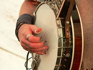 Fingerpick - Don Wayne Reno wearing finger picks while playing a banjo