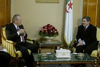 Ahmed Ouyahia - Ouyahia with Donald Rumsfeld on Feb. 12, 2006