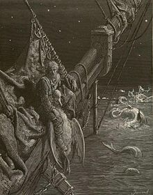 Engraving of sailor on bowsprit tied to a dead albatross, with water serpents in the sea around the ship