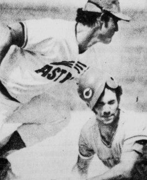 Tom Spencer (baseball) - Spencer (right) sliding into third base safely in 1975.