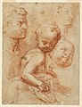 Drawing, Study of man, woman and child heads, sitting child, ca. 1570 (CH 18351315-2).jpg