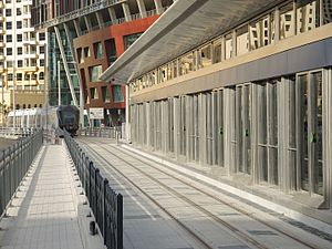 Dubai Tram - Typical air conditioned tram station with safety screen doors