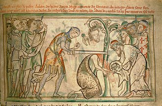 Saint Alban - The martyrdom of St Alban, from a 13th-century manuscript, now in the Trinity College Library, Dublin. Note the executioner's eyes falling out of his head.