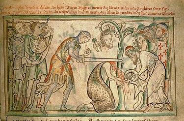 The martyrdom of St. Alban, from a 13th-century manuscript, now in the Trinity College Library, Dublin. Note the executioner's eyes falling out of his head. DublinTrinityCollegeMSEi40LifeAlbanFol38rMartyrdomAlban.jpg