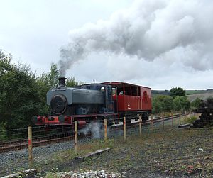 Scottish Industrial Railway Centre - An Andrew Barclay saddle tank, normally resident at the Caledonian Railway (Brechin), operating on the centre's running line in 2005