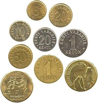 Estonian kroon - Image: EST coins overview